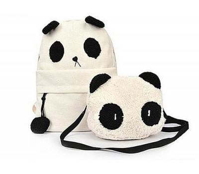 "Белый рюкзак и сумка ""Панда"""