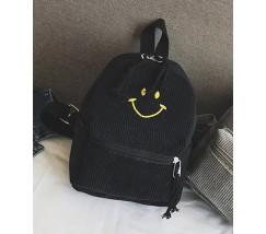 Рюкзак вельветовый со смайликом черный