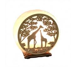 """Соляний світильник круглий """"Жирафи"""""""