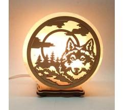 """Соляний світильник круглий """"Вовк і місяць"""""""