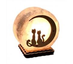 """Соляний світильник круглий """"Коти на місяці 1"""""""
