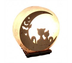"""Соляний світильник круглий """"Коти на місяці 2"""""""