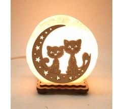 """Соляний світильник круглий """"Коти на місяці 4"""""""