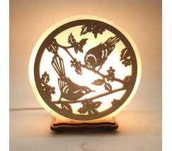 """Соляний світильник круглий """"Пташки"""""""