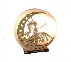 """Соляний світильник круглий """"Фея на місяці 2"""""""