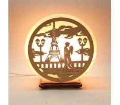 """Соляний світильник круглий """"Закохані в Парижі"""""""