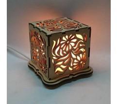 """Соляний світильник дерев'яний куб """"Квіти"""""""