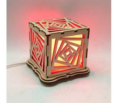 """Соляний світильник дерев'яний куб """"Куби"""""""