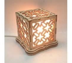 """Соляной светильник деревянный куб """"Узор1"""""""
