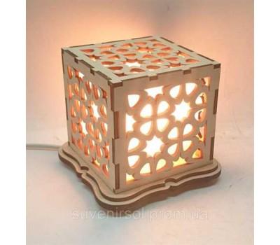 """Соляной светильник деревянный куб """"Узор2"""""""