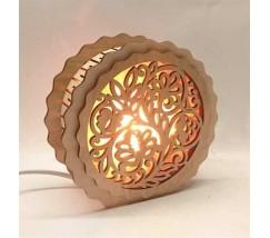 """Соляний світильник дерев'яний круглий """"Візерунок"""""""