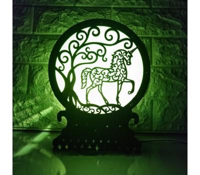 """Соляная лампа с цветной подсветкой """"Единорог"""""""