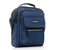 Компактная мужская сумка с ткани синяя