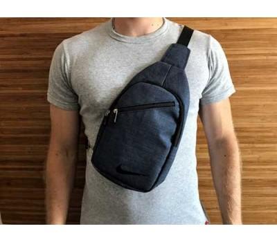 Мужская сумка бананка на грудь синяя