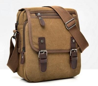 Мужская сумка с ткани коричневая