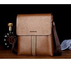 Стильная мужская сумка с полоской светло-коричневая