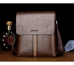 Стильная мужская сумка с полоской темно-коричневая