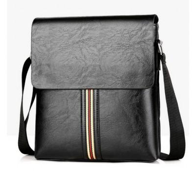 Стильная мужская сумка с полоской черная