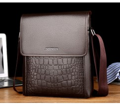 Мужская сумка-планшет под крокодила коричневая