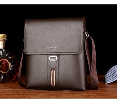 Мужская сумка с полоской и ремешком коричневая