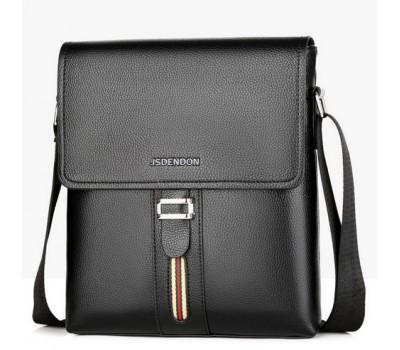 Мужская сумка с полоской и ремешком черная