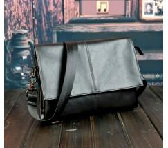 Мужская матовая сумка с эко-кожи черная