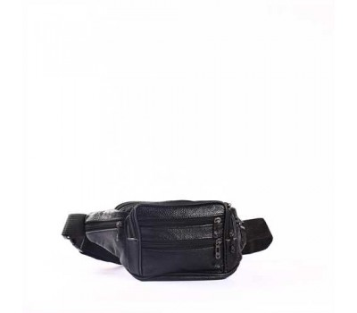 Мужская кожаная сумка, бананка, на пояс черная