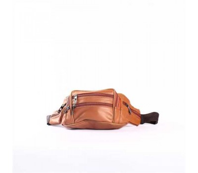 Мужская кожаная сумка на пояс, бананка коричневая