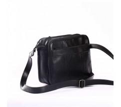 Класична чоловіча сумка зі шкіри чорна