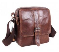 Винтажная кожаная мужская сумка коричневая
