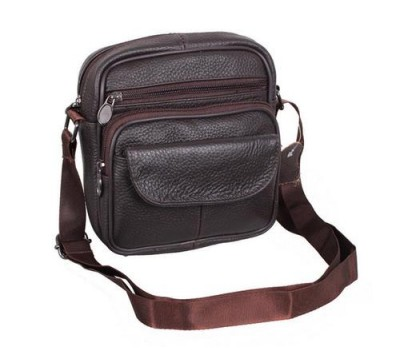 Кожаная сумка мужская коричневого цвета
