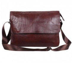 Вместительная мужская сумка кожаная коричневая