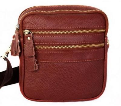 Красивая кожаная сумка мужская коричневая