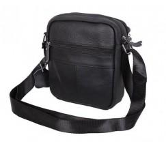 Кожаная мужская сумка на плечо черная