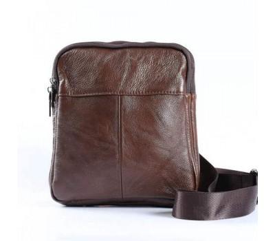 Мужская кожаная сумка на два отделения коричневая