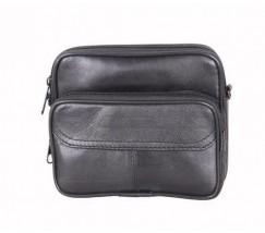 Маленькая мужская сумка с натуральной кожи черная