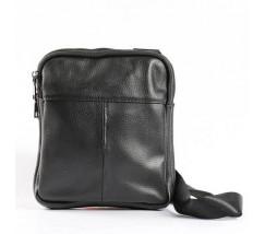 Чоловіча шкіряна сумка на два відділення чорна