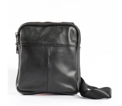 Мужская кожаная сумка на два отделения черная
