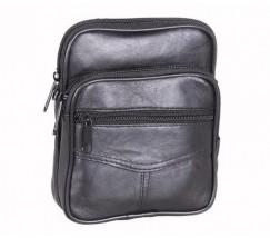 Компактная кожаная мужская сумка черная