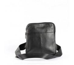 Чоловіча шкіряна сумка на одне відділення чорна