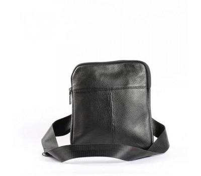 Мужская кожаная сумка на одно отделение черная