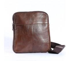 Мужская кожаная сумка на одно отделение коричневая