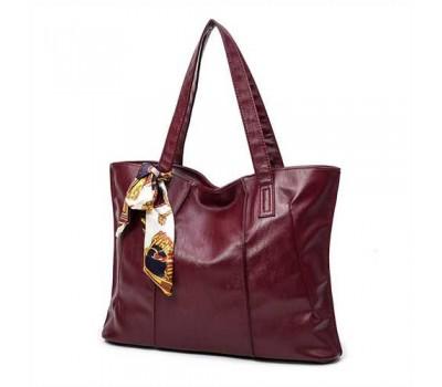 Женская сумка  бордовая с длинными ручками и ленточкой