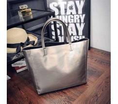 Женская сумка с ручками вместительная серебро