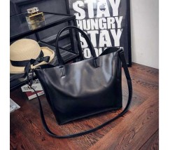 Женская сумка с ручками вместительная черная