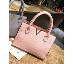 Большая женская сумка под кожу змеи розовая