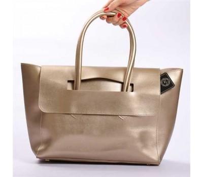 Большая женская сумка золотая