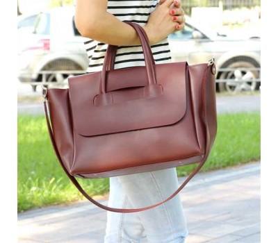 Большая женская сумка бордовая