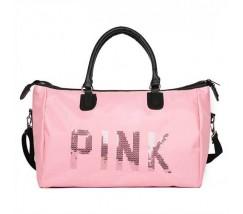 Велика спортивна сумка жіноча тканинна рожева