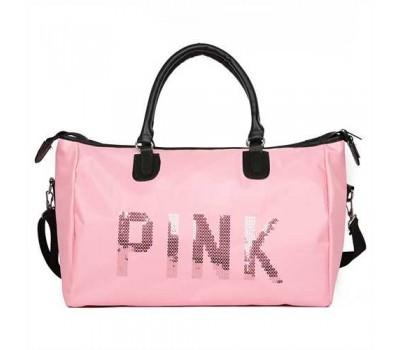 Большая спортивна сумка женская тканевая розовая